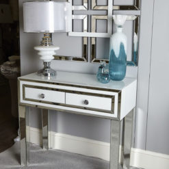 Madison White Glass Mirrored 2 Drawer Console Table