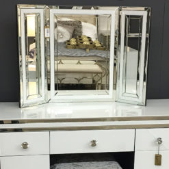 Madison White Glass Freestanding Vanity Dressing Table Tri-Fold Mirror