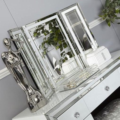 Madison White Glass Freestanding Vanity Tri-Fold Mirror