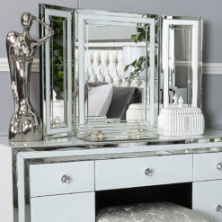 Madison White Glass Vanity Tri-Fold Mirror