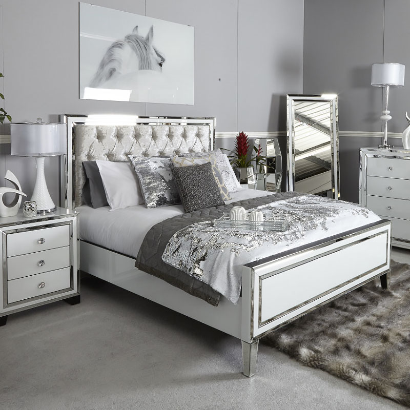 Attirant Madison White Mirrored King Size Bed Frame