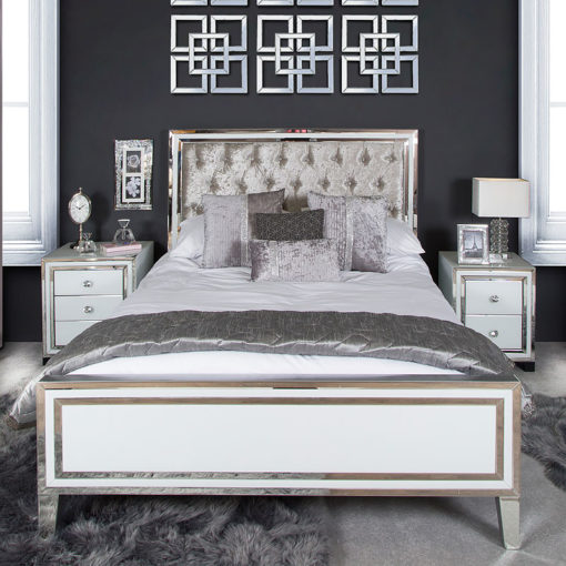 Madison White Mirrored King Size Bed Frame