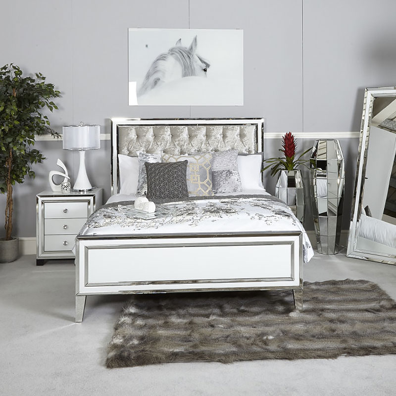 Madison White Mirrored King Size Bed Frame Picture