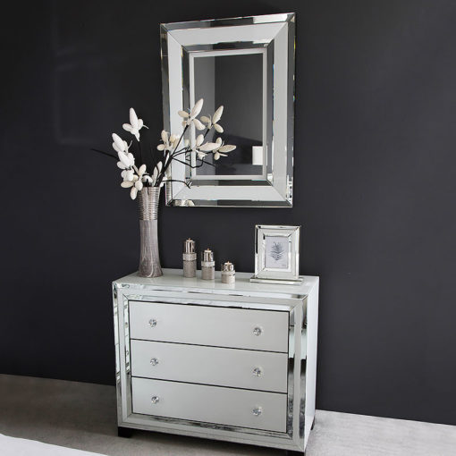 Madison White Rectangular Wall Hung or Over Dressing Table Mirror