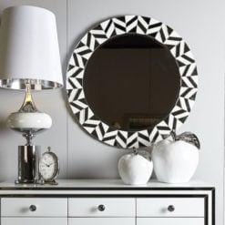 Large Round Madison White Statement Tile Frame Geo Wall Mirror