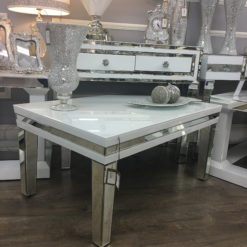Madison White Glass Mirrored Coffee Table