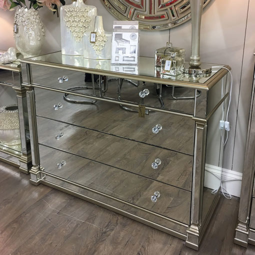 Athens Gold Mirrored 5 Drawer Chest