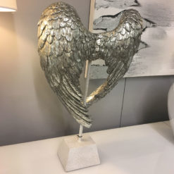 Antique Silver Distressed Angel Wings Sculpture