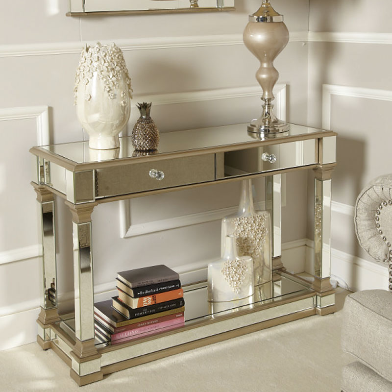 Delicieux Athens Gold Mirrored 2 Drawer Console Table