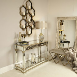 Athens Gold Mirrored 2 Drawer Console Table