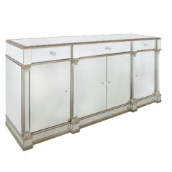 Athens Gold Mirrored 4 Door 3 Drawer Cabinet