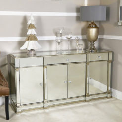 Athens Gold Mirrored 4 Door 3 Drawer Cabinet Sideboard