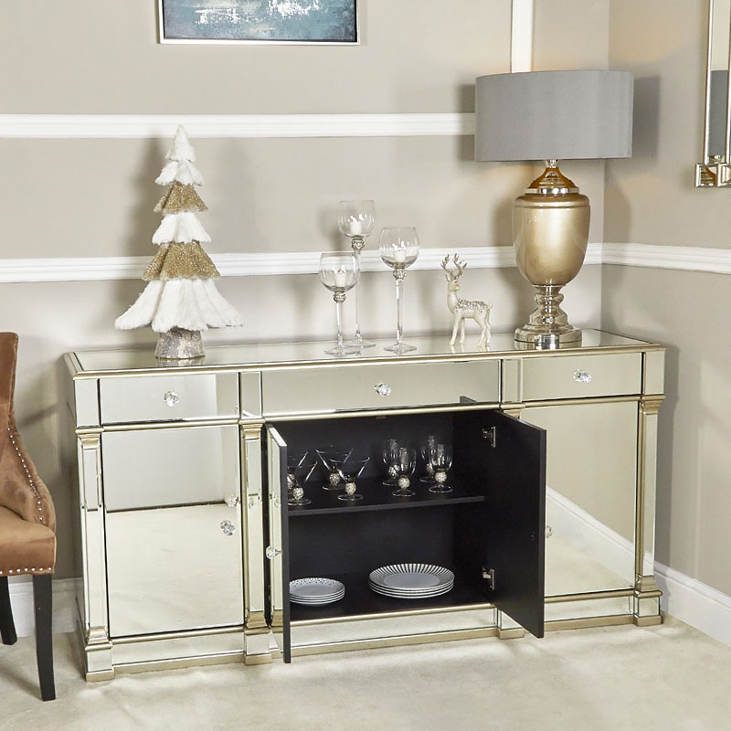 Athens Gold Mirrored 4 Door 3 Drawer Cabinet Sideboard Picture