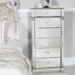 Athens Gold Mirrored 6 Drawer Tallboy Chest Of Drawers