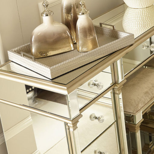 Athens Gold Mirrored 9 Drawer Dressing Table