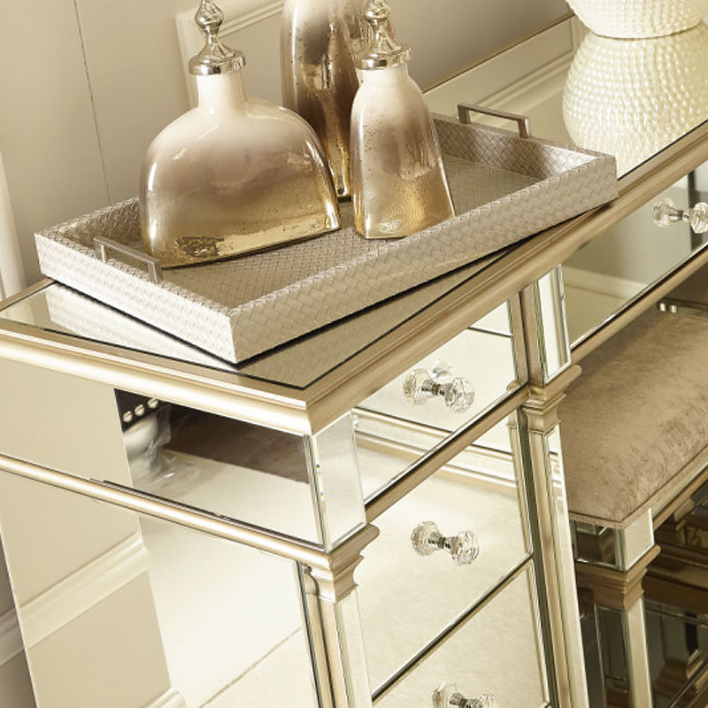 Athens Gold Mirrored 9 Drawer Dressing Table Picture