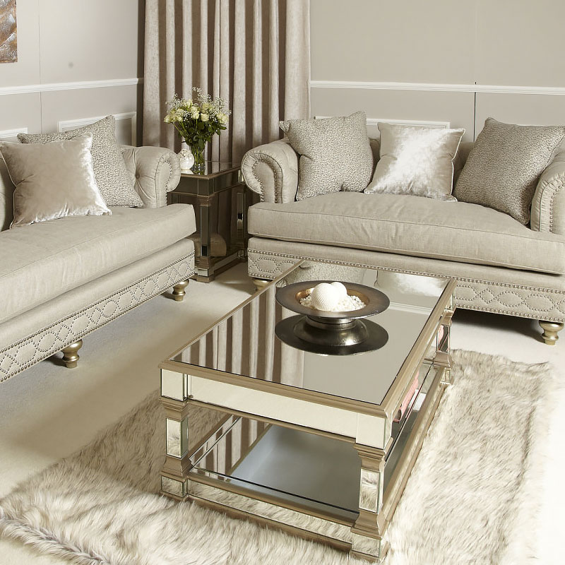 Athens Gold Mirrored Low Coffee Table Picture Perfect Home