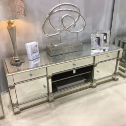 Athens Gold Mirrored TV Entertainment Stand - Large