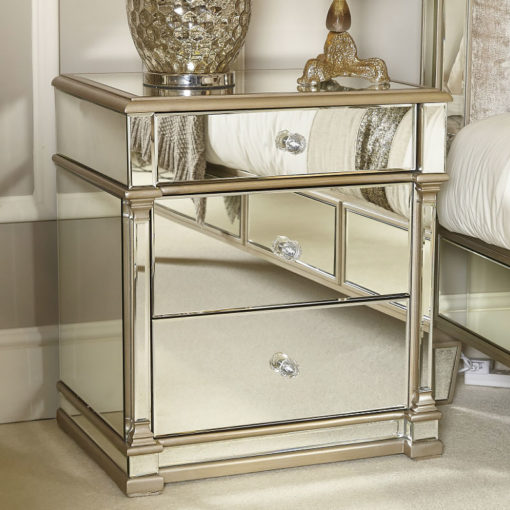 Athens Gold Mirrored 3 Drawer Chest Bedside Cabinet Bedside Table