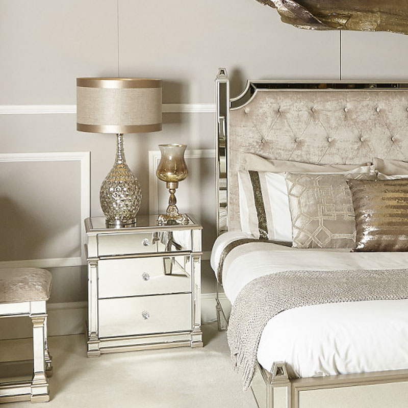 Athens Gold Mirrored 3 Drawer Chest Bedside Cabinet