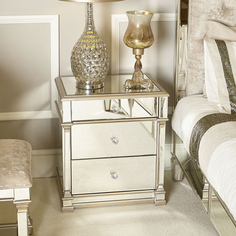 Athens Gold Mirrored 3 Drawer Chest, Gold Mirrored Furniture Uk