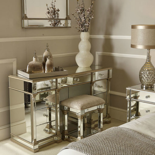 Athens Mirrored Dressing Stool in Champagne
