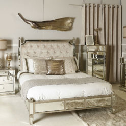 Athens Mirrored King Size Bedframe and Headboard