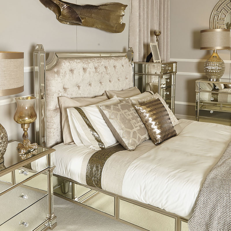Athens Gold Mirrored King Size Bedframe And Headboard