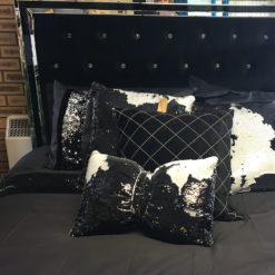 Black and White Mermaid Bow Cushion