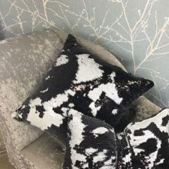 Black and White Mermaid Sequin Cushion Medium