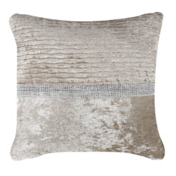 Champagne Gold Velvet Diamonte Banded Cushion