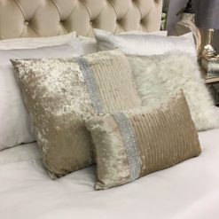 Champagne Gold Velvet Diamonte Small Cushion