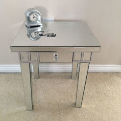 Classic Mirror 1 Drawer Mirrored Lamp Table