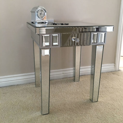 Classic Mirror 1 Drawer Mirrored Lamp End Side Table