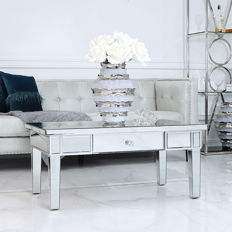 Classic Mirror 1 Drawer Mirrored Coffee Table Picture