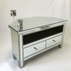 Classic Mirror Mirrored Corner TV Entertainment Cabinet