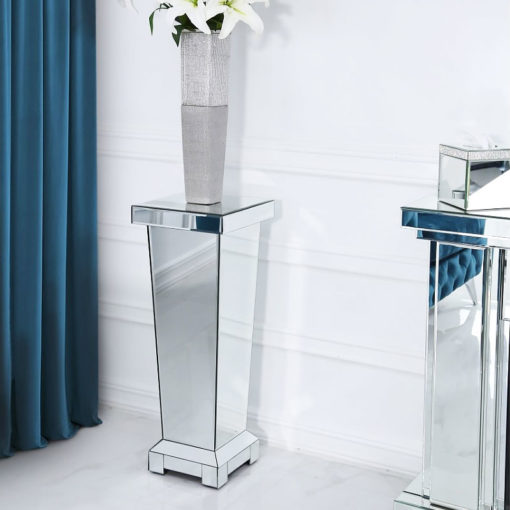 Classic Mirror Medium Mirrored Display Pedestal Side Table 70cm