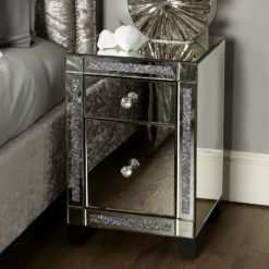 Diamond Crush Mirrored 2 Drawer Bedside Cabinet