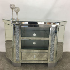 Diamond Crush Mirrored Corner TV Cabinet