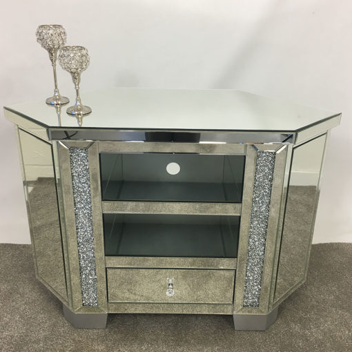 Diamond Crush Tall Mirrored Corner TV Cabinet