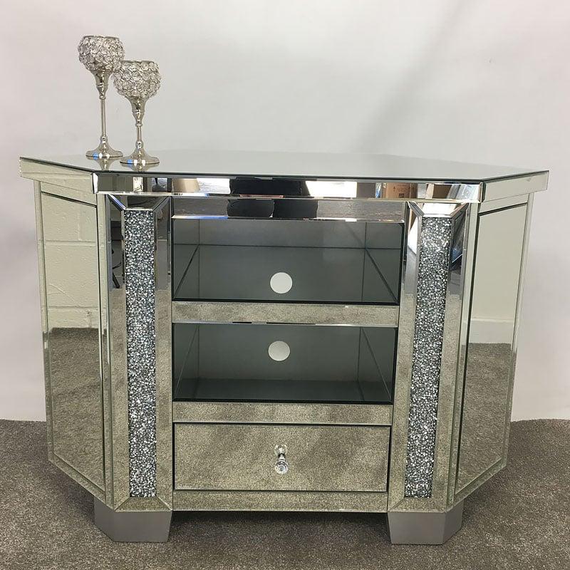 Diamond Crush Tall Mirrored Corner Tv Cabinet Picture