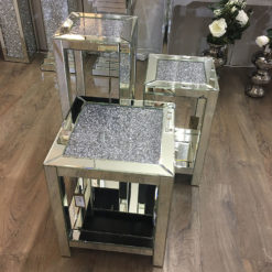Diamond Crush Mirrored Tall Telephone Table