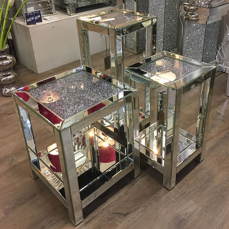 Diamond Crush Mirrored Tall Lamp End Table Picture Perfect Home