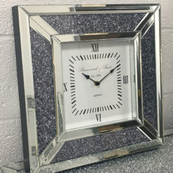 Diamond Crush Mirrored Square Wall Clock