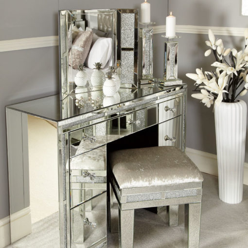 Diamond Glitz Mirrored Dressing Table Bundle