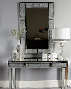 Silver Faux Stingray Leather 2 Drawer Console Table Hallway Table