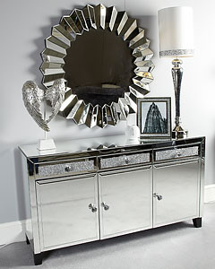 Blitz 2 Drawer White Glitzy Sparkle Crystal Dressing Console Table