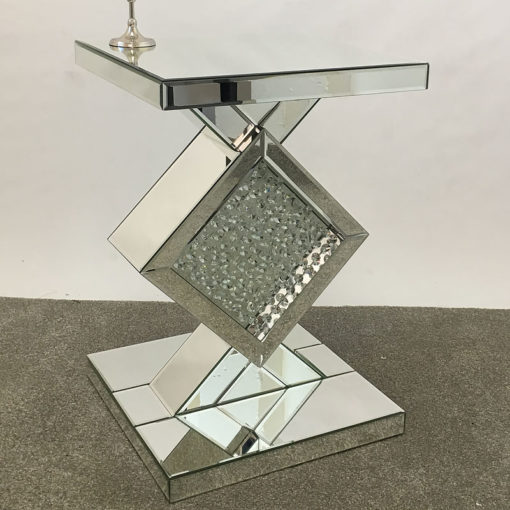 Floating Crystal Clear Glass Mirrored End Table