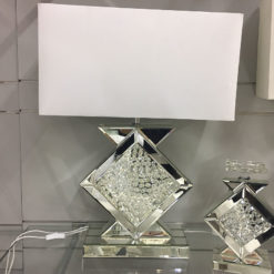 """Floating Crystal Clear Glass Table Lamp 20"""""""