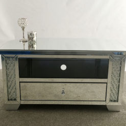 Floating Crystal Mirrored 1 Drawer Corner TV Cabinet
